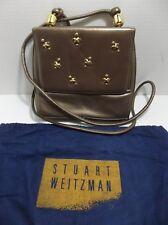 Vintage STUART WEITZMAN Leather Shoulder Purse CROSSBODY Bag Brown TAUPE