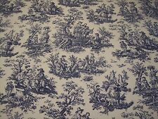 """NAVY DELFT BLUE/WHITE~WAVERLY """"Rustic Toile"""" 54""""W DECO FABRIC BTY~FREE SHIPPING"""