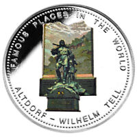 UGANDA 2000 Shillings 1996 Silver Proof 'Famous Places - Altdorf - Wilhelm Tell'