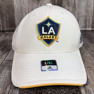 Los Angeles LA Galaxy MLS Adidas Cap Hat Soccer Adult L/XL White Mesh Back Logo