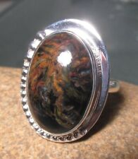 Sterling silver 925 cabochon Pietersite ring UK R/US 8.75. Gift bag.