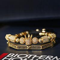 2 Pcs Crown Golden Luxury Alloy Adjustable Elegant Couple Bracelet Lover's Gift