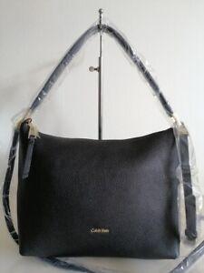 CK black genuine LEATHER Large cross body shoulder bag / handbag