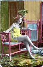 1910 Chubby Girl BBW Lingerie Risque Postcard #1365 AP