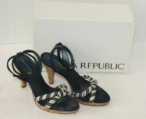 Banana Republic Womens Blue Nautical Sandals Cork Heels Shoes Size 5.5