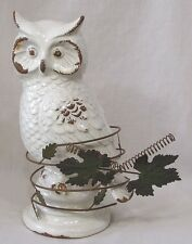 Vintage Owl Ceramic Figure White Gold w Wire Art Accent