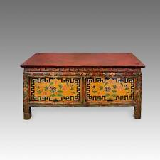 ANTIQUE MONKu0027S WRITING TABLE PAINTED PINE TIBET CHINESE FURNITURE 19TH ...