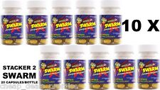 Stacker 2 SWARM Extreme Energizer Weight Loss 20ct Bottle Lot 10 X= 200 Capsules