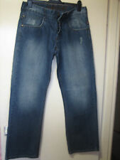C32 ) MENS DESIGNER TIME ZONE STRAIGHT LEG BLUE JEANS BUTTON  FLY  W 34  LEG 32
