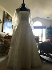 Ian Stuart Bridal Gown Wedding Dress w Shawl Swarovski Crystal Beaded Strapless