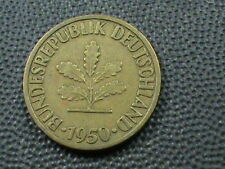 WEST GERMANY  10 Pfennig  1950  -  D  ,   $ 2.99  Maximum  shipping  in  USA