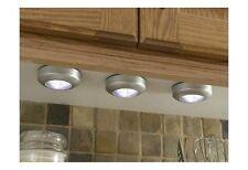 2 LED Circle Push Lights Cupboard Wall Under Shelf Shed Self Adhesive DIY