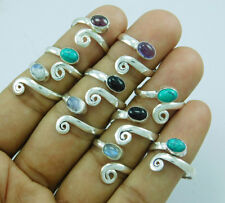 pcs Adjustable Toe Ring Lot-215 925 Silver Overlay Mix Gemstone 100