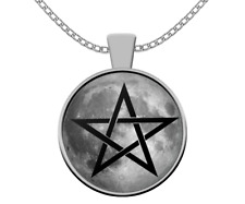 Esoteric Wicca necklace - Full Moon pentagram pagan pentacle - occult magic gift