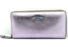 Authentic Vivienne Westwood Venice Metalic Womens Zip Around Wallet Purple