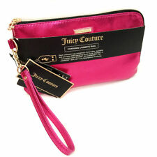 Juicy Couture Phone Charging Cosmetic Bag Wristlet Iridescent Pink Saffiano