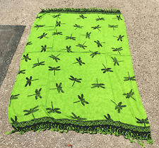 Dragonfly Green & Black Sarong - Beach/Pool/Summer Cover Up/Skirt/Dress/Sunbathe