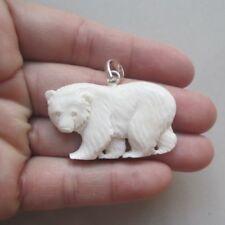 Ciondolo laccio in osso inciso a mano ORSO POLARE Polo Nord POLAR BEAR Canada