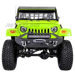"Front Bumper+Winch Plate+LED+21"" LED Light bar+D-Ring for 97-06 Jeep Wrangler TJ"