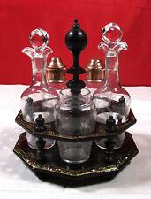 rare ménagère 1900 cristal Baccarat fougères support papier maché décor nacre