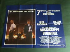 MISSISSIPPI BURNING  - ORIGINAL MOVIE POSTER - UK QUAD - GENE HACKMAN