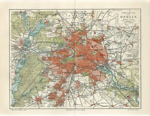 1895 GERMANY BERLIN CITY and SUBURBS Antique Map