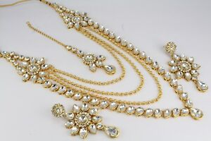 Indian Fashion Jewelry Gold Plated Long Necklace Earring Tikka Set Kundan Ethnic