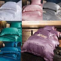 1 Pair Pure 100% Cotton Mulberry Silk Face Beauty Pillowcase Cover Queen 48*74cm