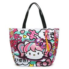 NEW Loungefly Hello Kitty Anime Japanimation Turquoise Striped Shopper Tote Bag