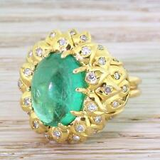 RETRO 6.00ct CABOCHON COLOMBIAN EMERALD & DIAMOND COCKTAIL RING - Gold - c 1945