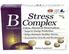 GSL stress B complex & vit C E zinc B12 B6 B2 B3 Folic Acid 30 tablet box