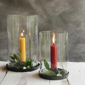 Clear Glass Round Hurricane Zinc Tray Base, Garden Rustic Taper Candle Holder