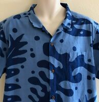Patagonia Pataloha Hawaiian Shirt Button Size XXL 2XL Blue Tropical Leaf Print