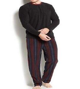 New Men's Club Room Fleece Striped Pajama 2-PC Set Shirt Pants Black Burgundy L