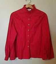 Vintage Sears The Fashion Place Shirt Size 44 Red Ruffles Solid Prairie Boho