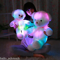 Bunt LED Kuschelkissen Teddy Bär Bear Plüschtiere Kuscheltier Kissen JO 35cm