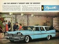 Old Print. Blue 1959 Plymouth Sport Suburban Four-Door Auto Advertisement