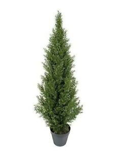 One 4 foot Outdoor Artificial Cedar Topiary Tree Potted UV Rated Plant Cypress