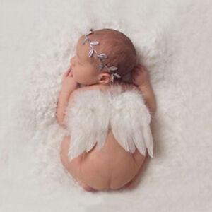 Newborn Baby White Angel Wings Headband Costume Photo Photography Prop sh