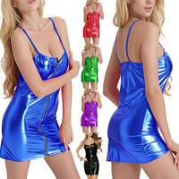 Sexy Women Wet Look Shiny Metallic Dress Zipper Front Clubwear Party BodYcon FO
