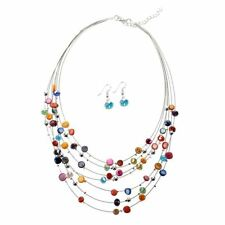 Gorgeous Beaded Multi Strand Necklace and Drop/Dangle Earring Set-Multicolo B3C1