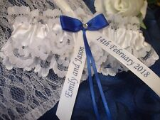 LUXURY HANDMADE PERSONALISED WEDDING GARTER SOMETHING BLUE BRIDE GIFT & LACE BAG