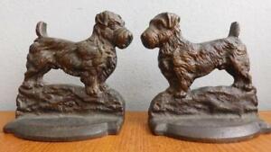 Heavy 2kg Bronze Antique Scottish West Highlands Terrier Bookends 1900s