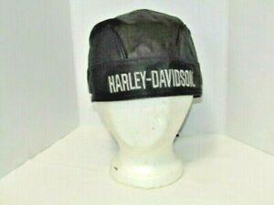 Harley-Davidson Men's Black Leather Skull Cap Do Rag Adjustable 1998 JEL CLEAN!