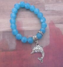 Celtic Dolphin Stretch Bracelet with Sparkle Accent and Sea Blue Agate Beads