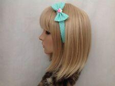 Pastel mint green white polka cupcake headband hair bow rockabilly pin up girl