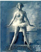 Topless w/ Clown Face & TuTu B & W HENDRICKSON PHOTO Original Artist Studio D576