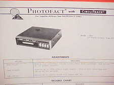 1972 AUDIOVOX CAR AUTO 8-TRACK STEREO TAPE PLAYER SERVICE MANUAL MODEL C-961