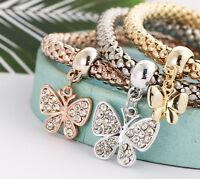 Charms Butterfly Heart Love Bracelet Rhinestone Cuff Bangle Ladies Jewelry Gift