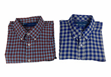 Lot of 2 Coastal Cotton Mens Button Up Checked Shirt Multicolor Size Large